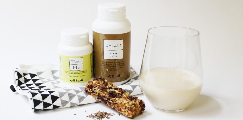 lait, MV, Oméga3 et barre de céréales