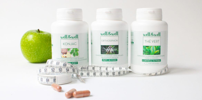 les 3 alliés pour une minceur naturelle : le Konjac, l'orthosiphon et le thé vert. Ces produits sont présentés sur une fond blanc avec une pomme verte grany et un mètre couturière