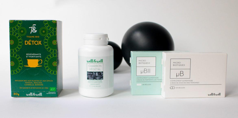 les produits well&well pour agir contre les symptômes du ballonnements : tisane, charbon végétal, microbiotiques well and well
