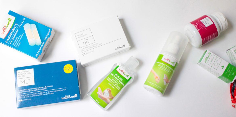 trousse à pharmacie well&well composé de MLT , gel antibactérien, pansements, JBL, huiles essentielles